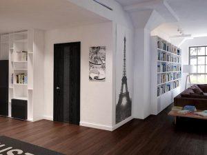 фото сочетания темного пола темной двери и светлого плинтуса