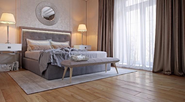 фото ламинат Swiss Krono натуральный в спальне